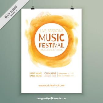 Gele aquarel festival poster