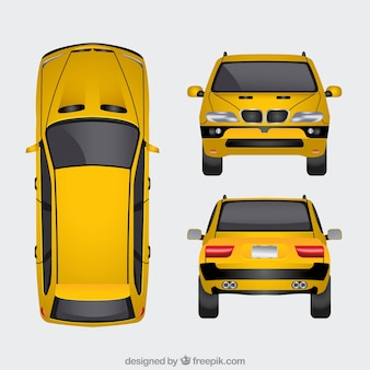 Gele auto in verschillende uitzichten