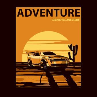 Gele auto op de woestijn
