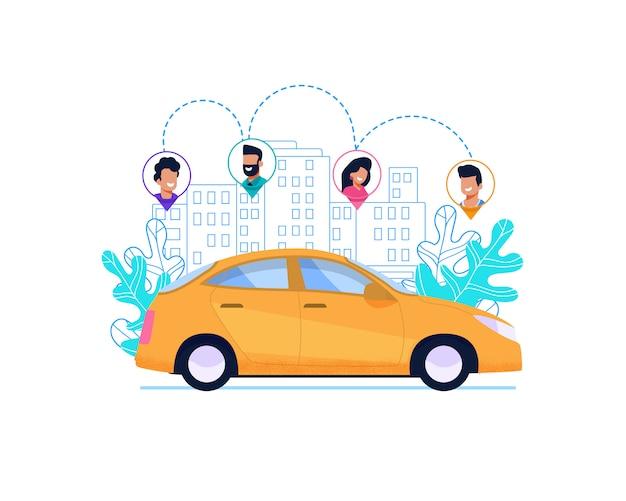 Gele auto op route in de stad.