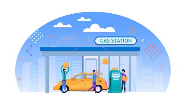 Gele auto tanken buitenshuis