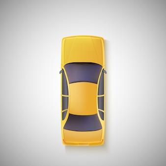 Gele auto, taxi. bovenaanzicht.