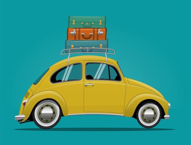 Gele auto, vintage cartoon retro auto met bagage op het dak.