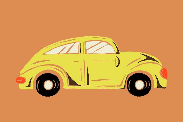 Gele auto voertuigafbeelding voor transport
