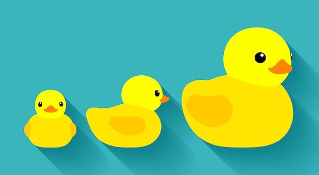 Gele badeendjes