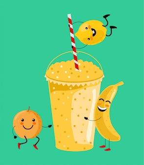 Gele banaan, sinaasappel, citroen smoothie vitamine drank illustratie. schattige cartoon fruit met mok. lekker natuurlijk fruit, stro en glas met gele laag smoothie cocktail.