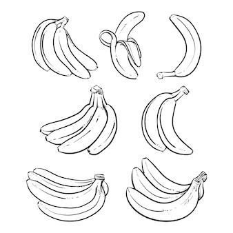 Gele bananen vectorillustratie op witte achtergrond.
