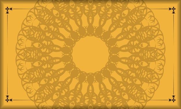Gele banner met vintage bruin ornament voor ontwerp onder uw tekst
