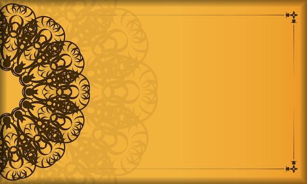 Gele banner met vintage bruin patroon en logoruimte