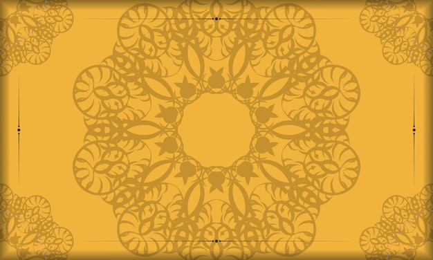 Gele banner met vintage bruin patroon en ruimte voor logo of tekst