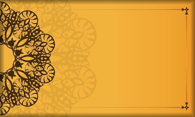 Gele banner met vintage bruin patroon voor ontwerp onder uw logo
