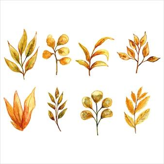 Gele bladeren bloemen aquarel set