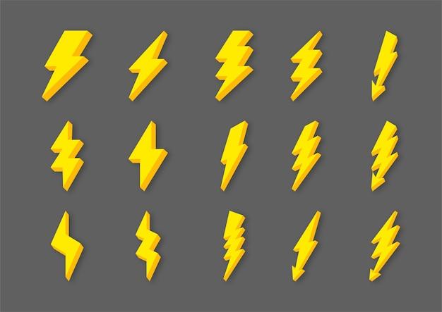 Gele bliksemschicht flits en donder pictogrammen instellen cartoon stijl geïsoleerd op een grijze achtergrond