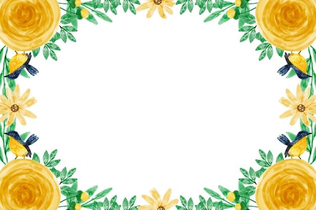 Gele bloem achtergrond met aquarellen