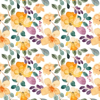 Gele bloem aquarel naadloze patroon