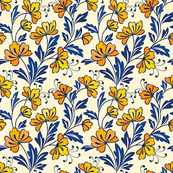 Gele bloem en blauw blad naadloze ontwerppatroon.