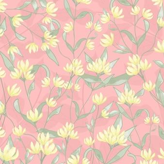 Gele bloem en groen blad op roze kleur.