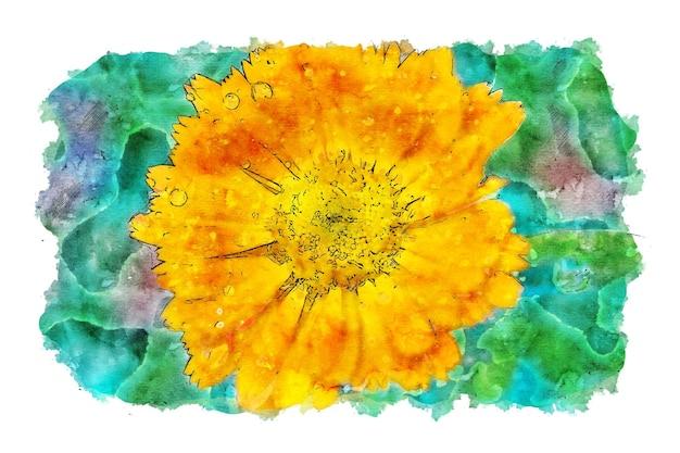 Gele bloem groene achtergrond aquarel