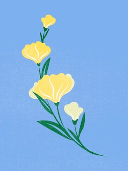 Gele bloem, lente clipart vectorillustratie