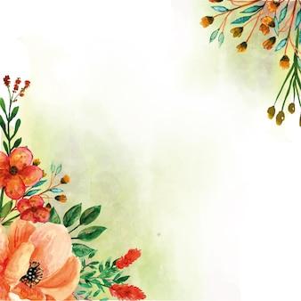 Gele bloemen aquarel hoekige decoraties voor de lente