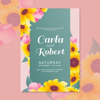Gele bloemen bruiloft feest uitnodiging