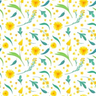 Gele bloemen en bladeren naadloos patroon