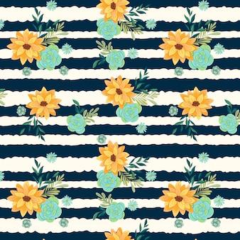 Gele bloemen met strepen naadloos patroon