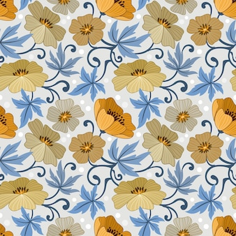 Gele bloemen ontwerpen naadloze patroon voor stof textiel wrap paper achtergrond.