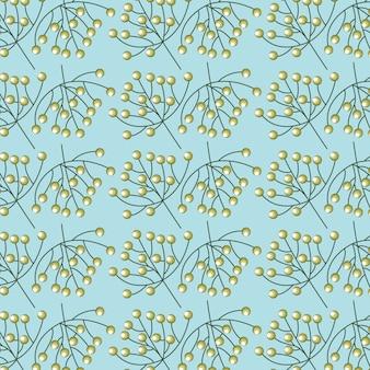 Gele bloemen op blauw, patroonillustratie