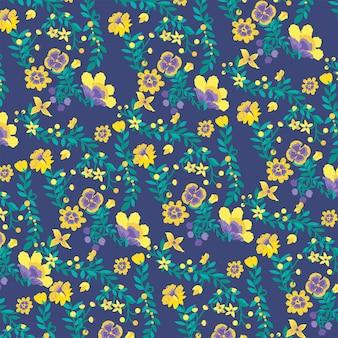 Gele bloemen op blauwe achtergrond, natuurbehang