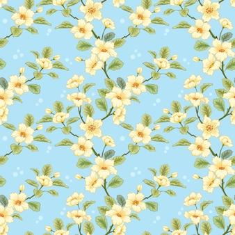 Gele bloemen op blauwe achtergrond voor textiel, stof, katoenweefsel, dekking, behang,
