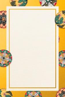 Gele bloemenachtergrond met rechthoekkader