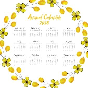 Gele bloemenkrans kalender 2018