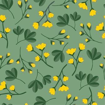 Gele bloemenpatroonachtergrond