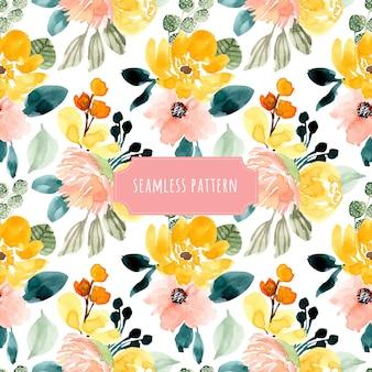 Gele blozen bloemen aquarel naadloze patroon