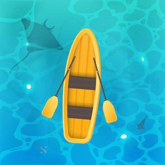Gele boot met roeispanen