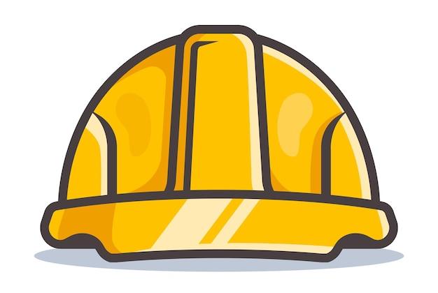 Gele bouwhelm. platte vectorillustratie
