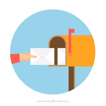 Gele brievenbus achtergrond met envelop in plat ontwerp