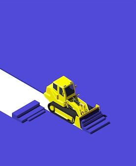 Gele bulldozer die blauwe grond duwt