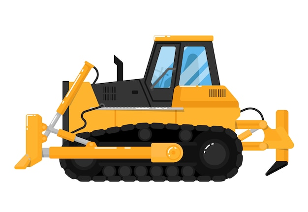 Gele bulldozer die op wit wordt geïsoleerd