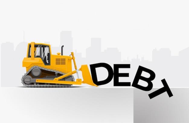 Gele bulldozer duwt het woord schuld naar de put. schuldverlichting financiële vrijheid concept. illustratie.