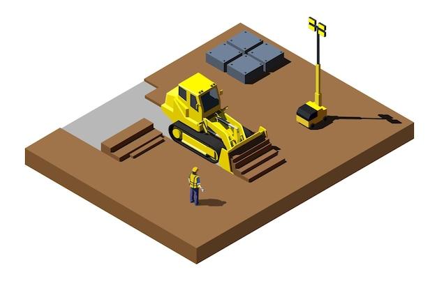 Gele bulldozer op bouwplaats