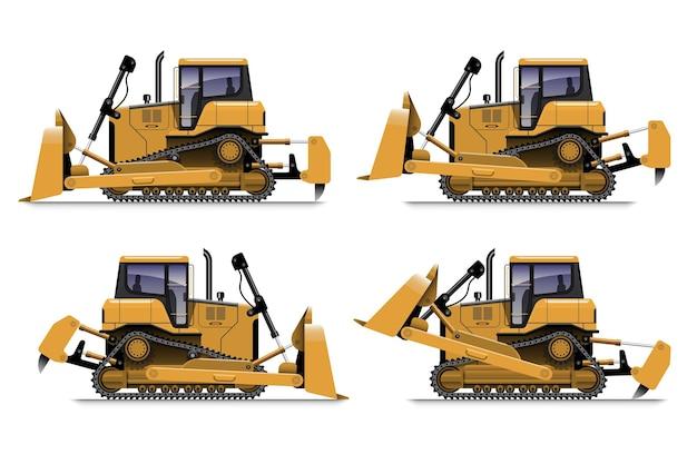 Gele bulldozer zijaanzicht in verschillende actie, geïsoleerd op een witte achtergrond.