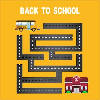 Gele bus terug naar school met doolhof van de weg