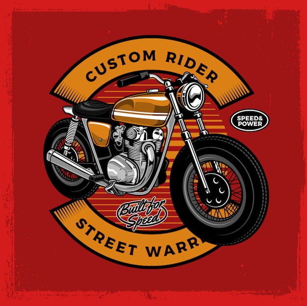 Gele caferacer motorfiets met insigne