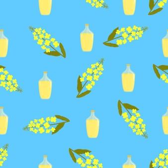 Gele canolabloemen en fles olie. koolzaad plant naadloos patroon.