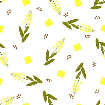Gele canolabloemen en zaden. koolzaad plant naadloos patroon.