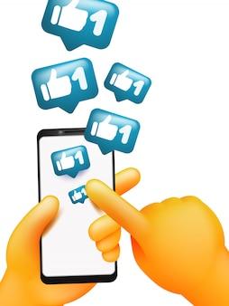Gele cartoon hand houden slimme telefoon scherm met vinger aan te raken