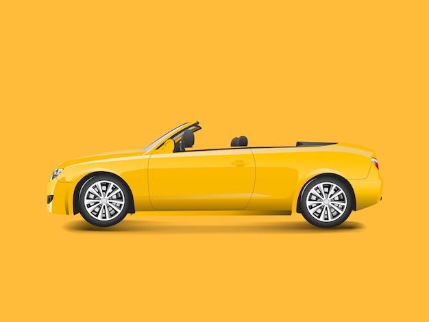 Gele convertibel in een gele vector als achtergrond