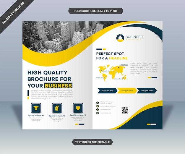 Gele curven zakelijke brochure lay-out